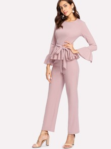 Flounce Cuff And Hem Self Belted Top & Pants Set