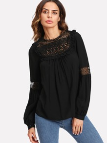 Frill Trim Lace Insert Bishop Sleeve Top