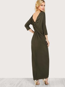 Twist Draped Back Maxi Tee Dress