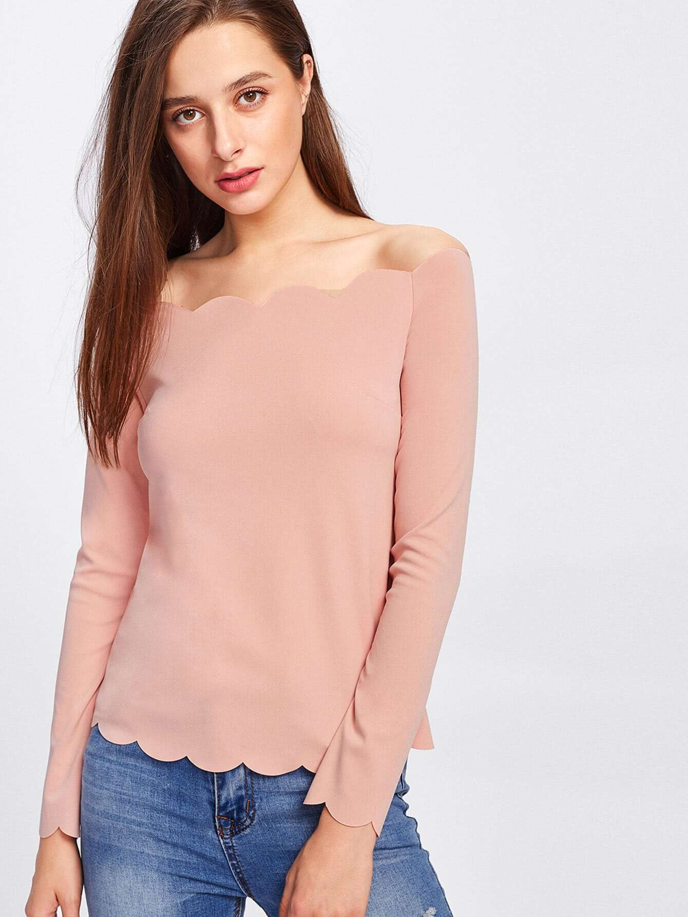 Off Shoulder Scallop Trim Top scallop trim one shoulder crop top