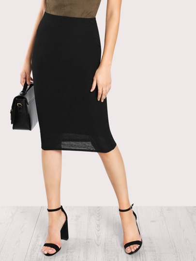 Elastic Waist Form Fitting Skirt