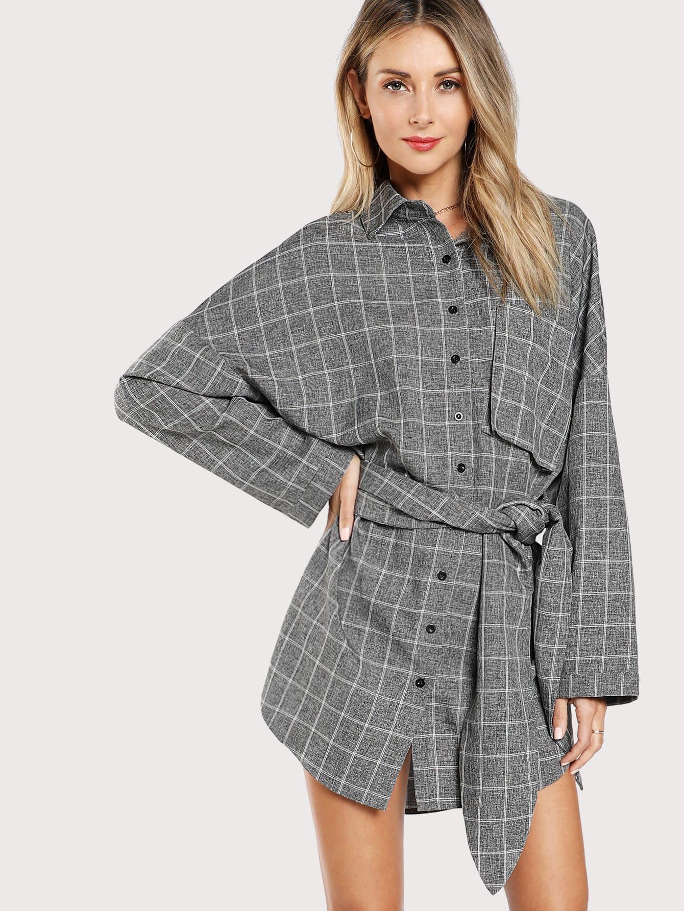 Single Pocket Belted Grid Shirt Dress plus size button up belted pocket shirt dress