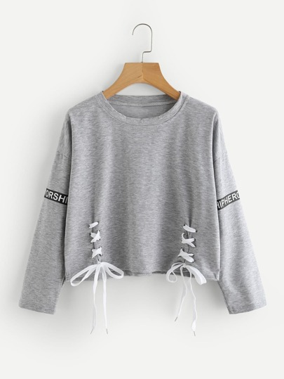 Letter Print Eyelet Lace Up Crop Sweatshirt