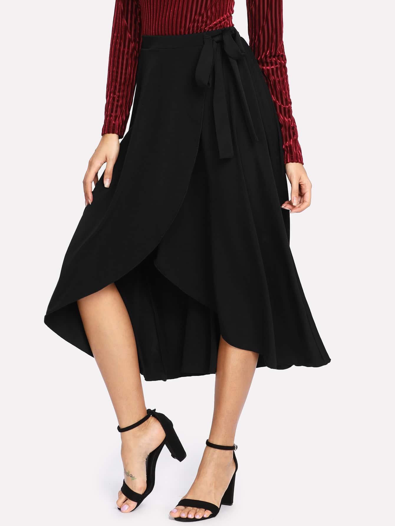 Self Belted Asymmetrical Skirt