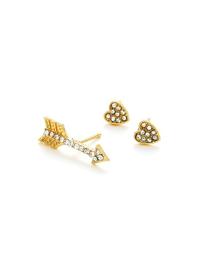 Heart & Arrow Stud Earring Set