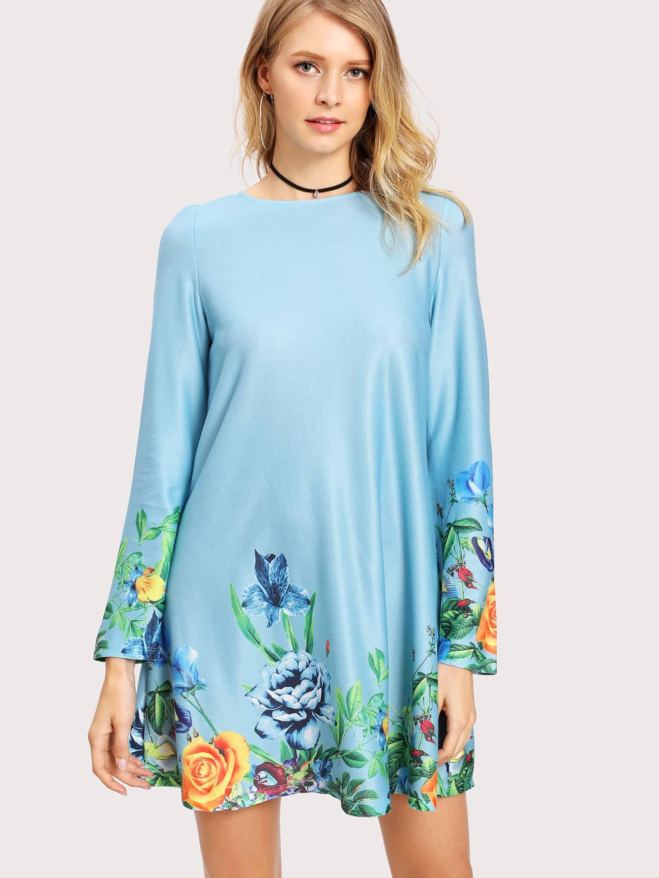 Botanical Print Trim Dress scalloped edge botanical print dress
