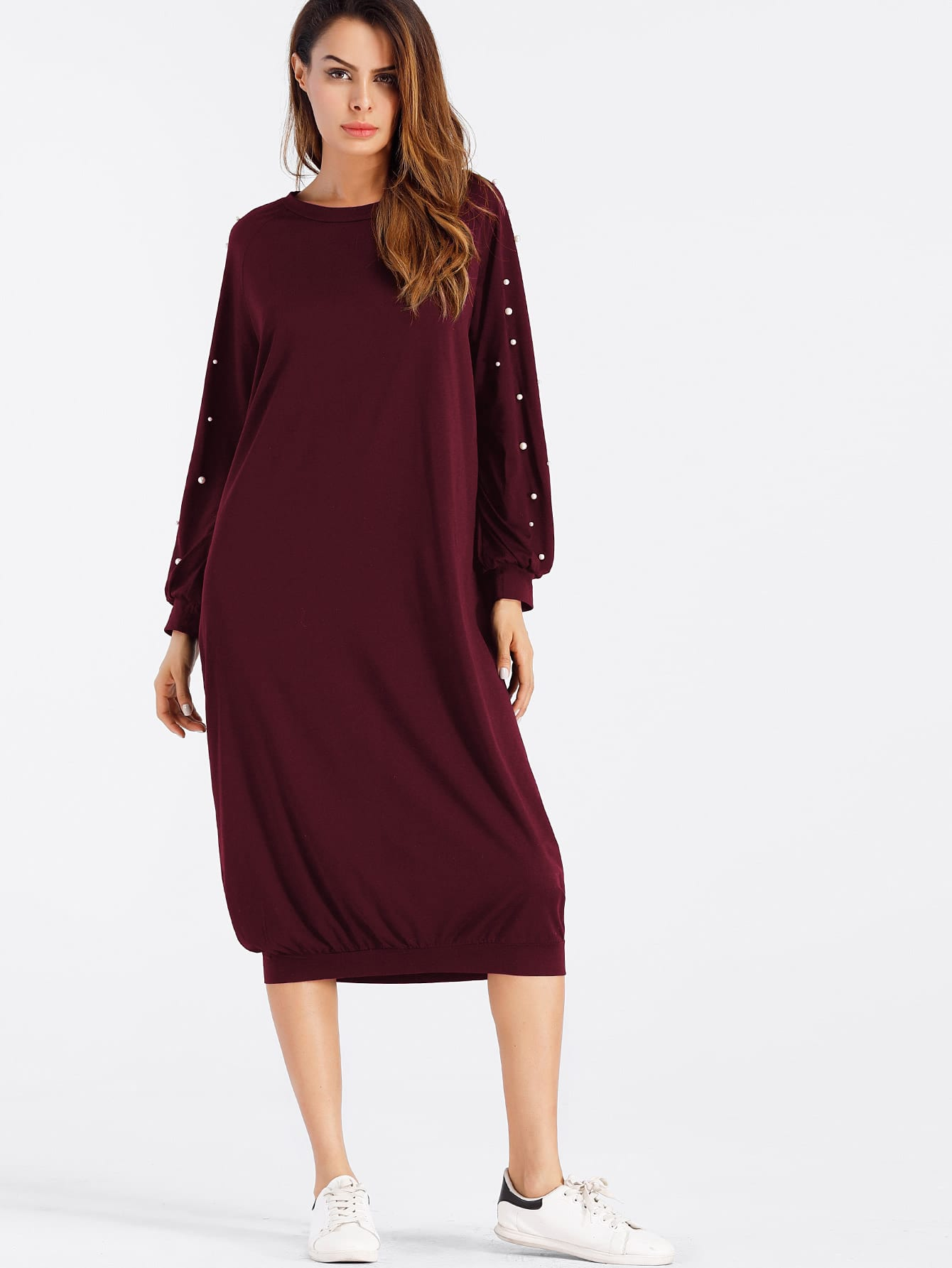 Pearl Beaded Sweatshirt Dress frill layered pearl detail sweatshirt dress