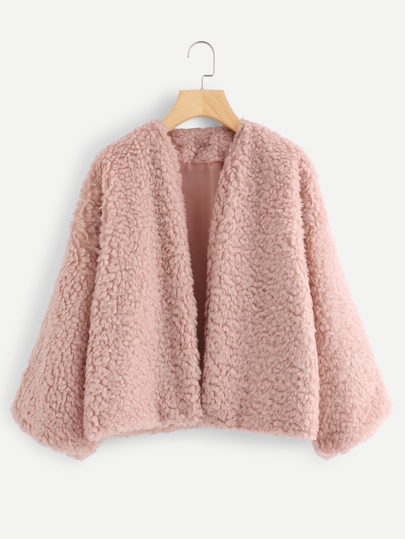 Drop Shoulder Faux Fur Coat