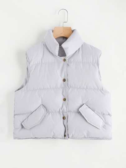 Single Breasted Padded Vest Coat