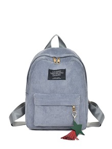 Pocket Front Corduroy Backpack With Tassel