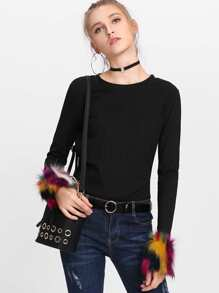 Tie Back Ribbed Tee With Faux Fur Cuff