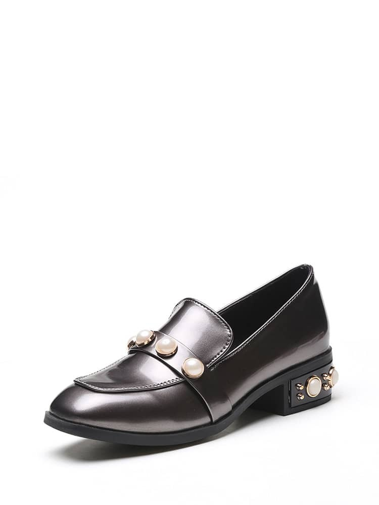 Faux Pearl Patent Leather Heeled Loafers