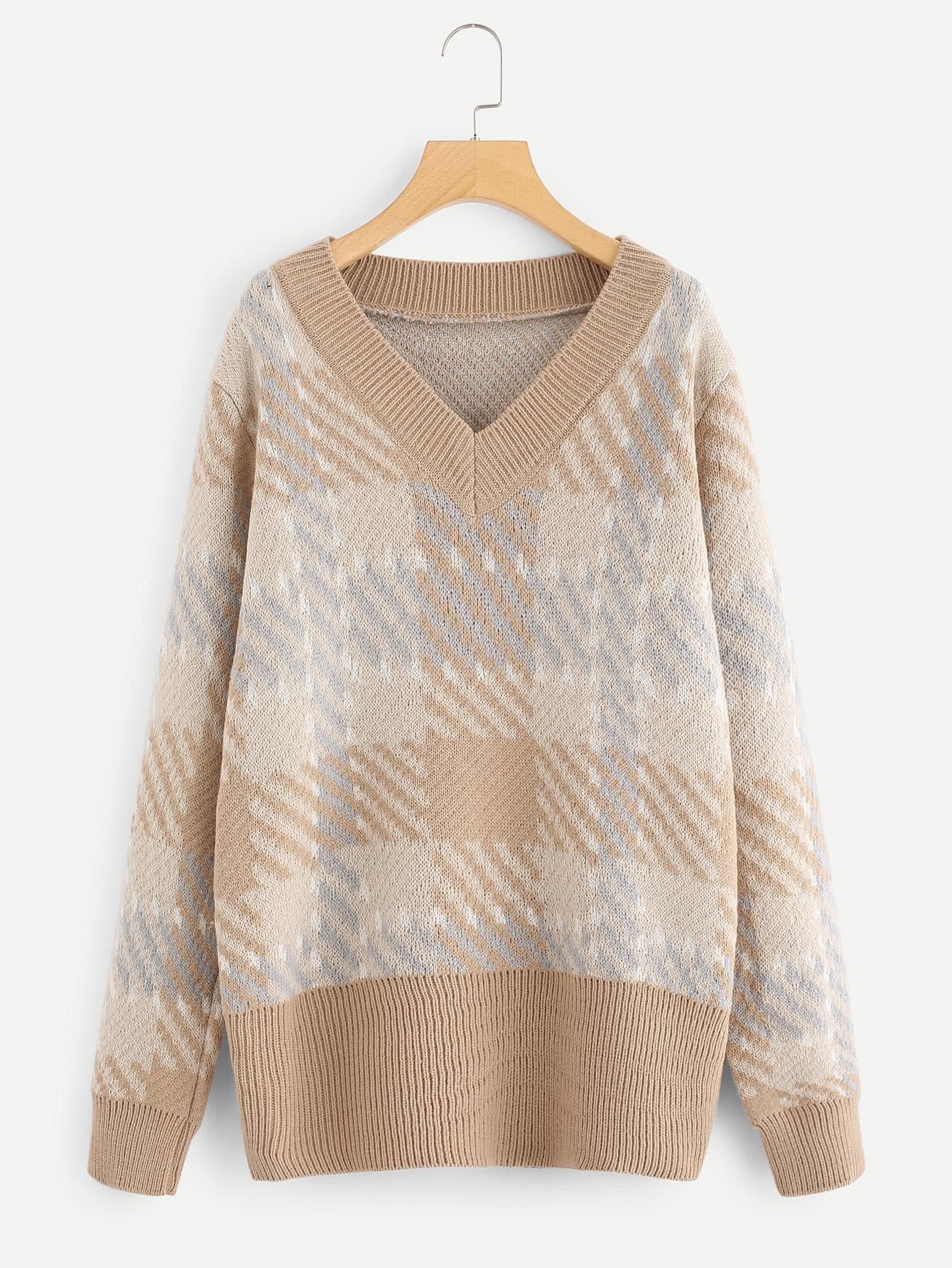 V Neckline Ribbed Trim Plaid Sweater sweater171117201
