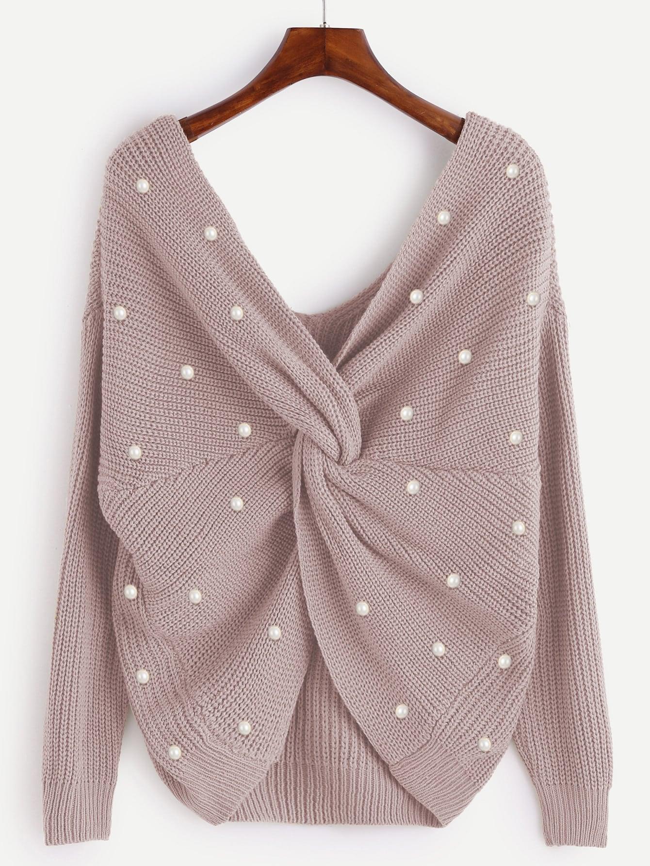 Pearl Beading Twist Infinity Sweater Emmacloth Women Fast