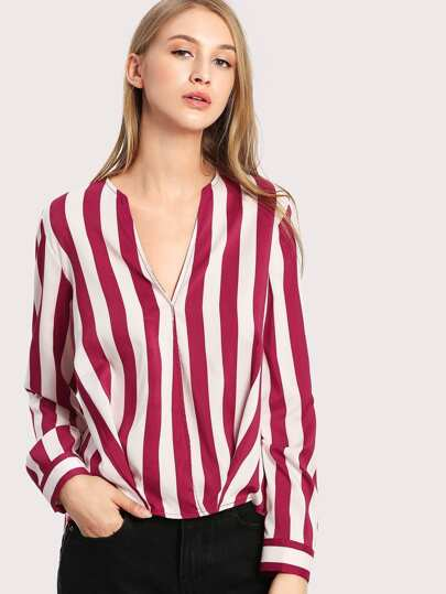 Striped Curved Dip Hem Blouse