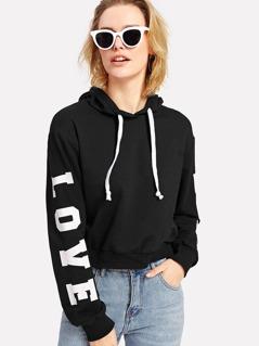LOVE Print Sleeve Drop Shoulder Hoodie