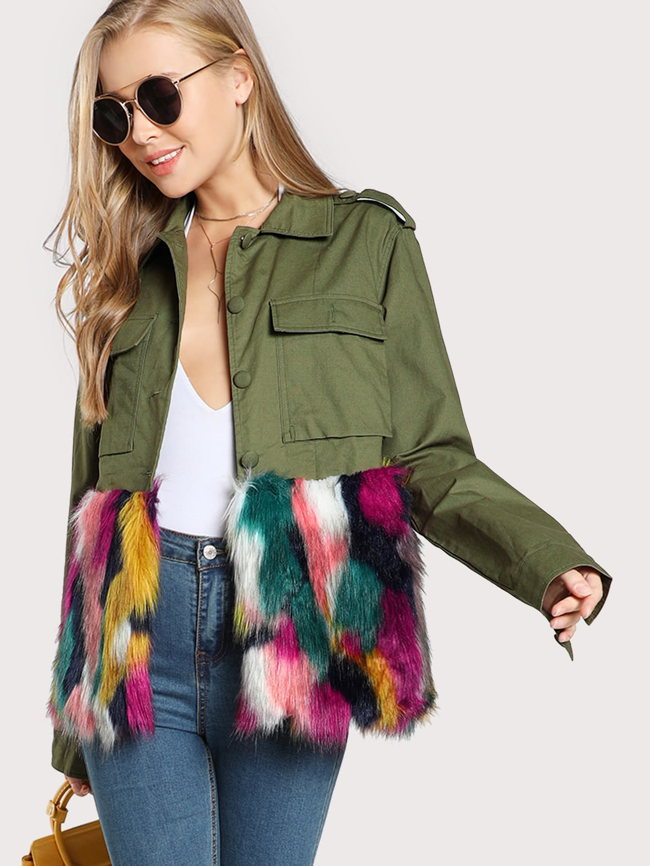 Colorful Faux Fur Trim Utility Jacket миша майский franz schubert songs without words mischa maisky daria hovora
