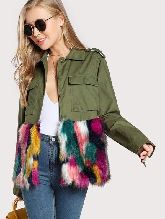 1599bd5f28 Colorful Faux Fur Trim Utility Jacket | MakeMeChic.COM