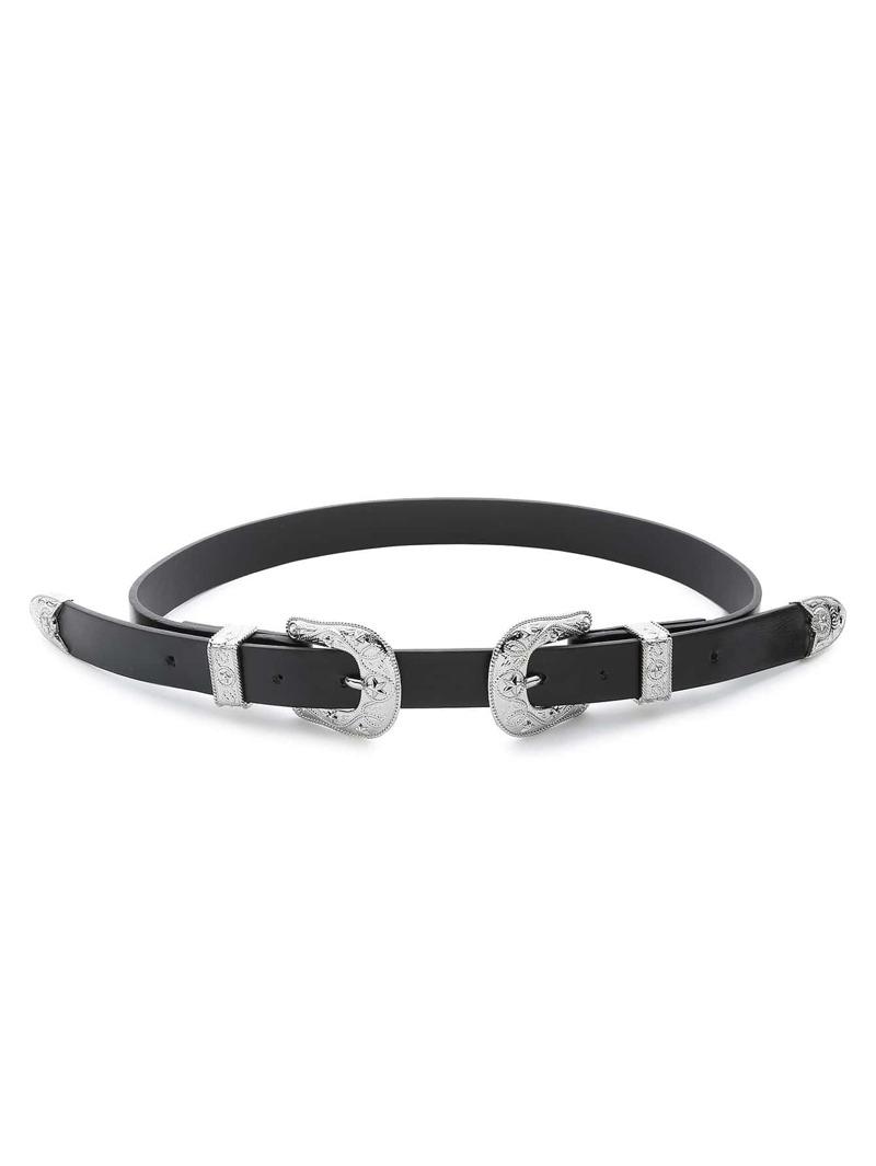Silver Star Pattern Double Buckle Belt, Black