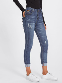 Roll Up Hem Ripped Jeans
