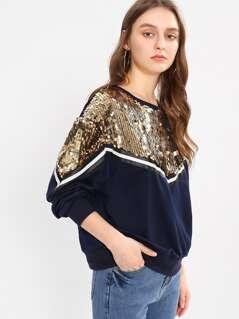 Sequin Detail Striped Sweatshirt