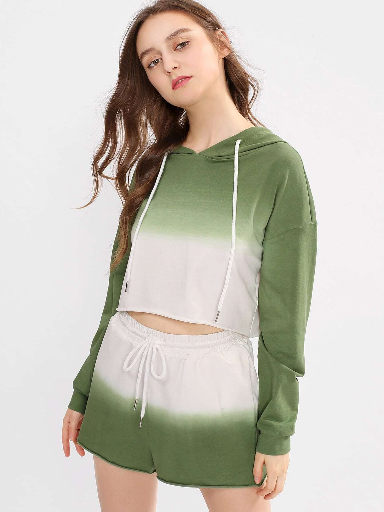 Raw Hem Hoodie & Shorts Set lisa corti сандалии