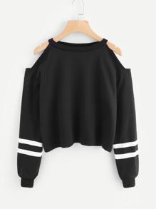 Cold Shoulder Varsity Striped Sweatshirt