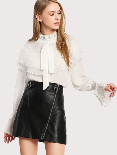 Flounce Layered Bow Detail Blouse