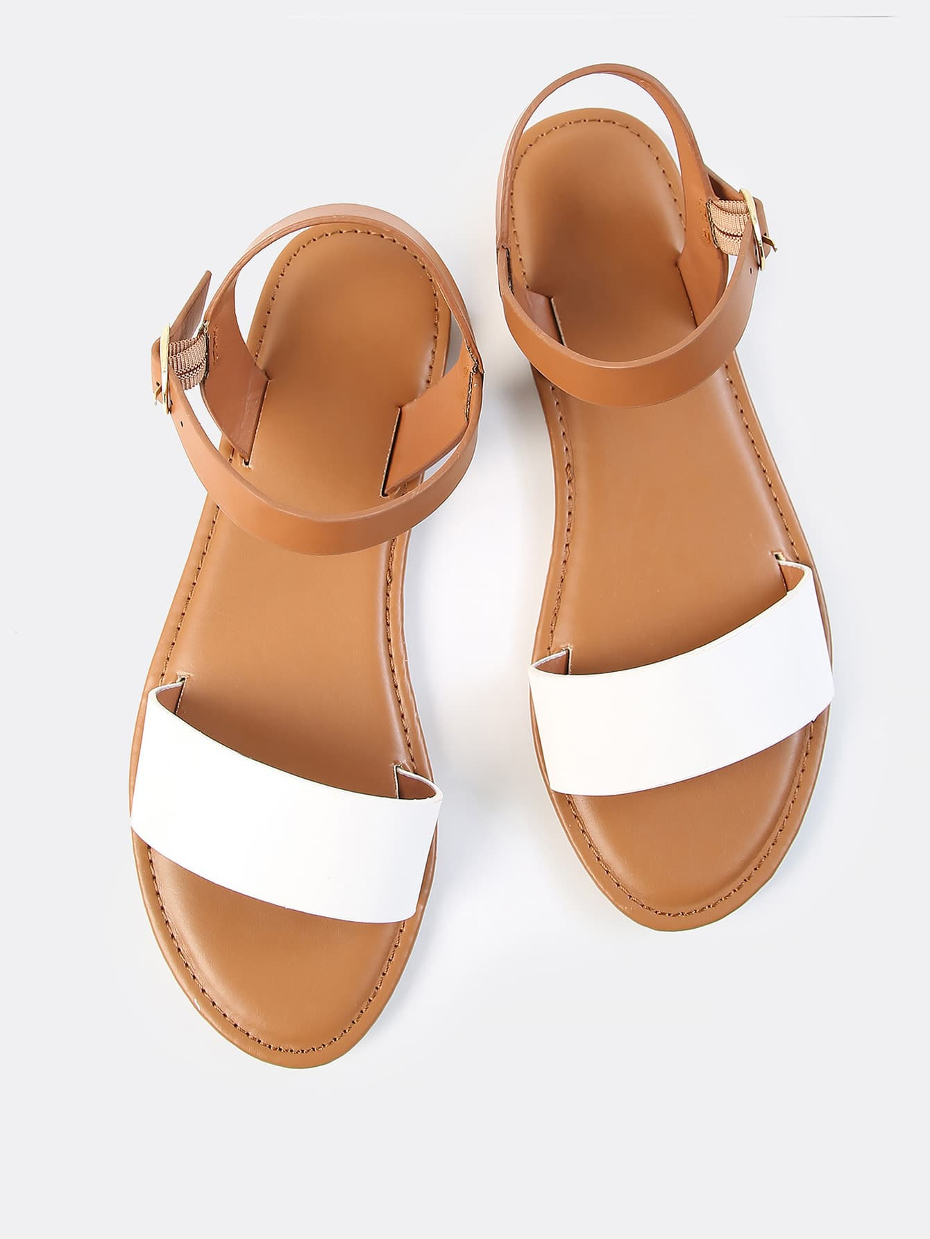 Купить со скидкой Two Tone PU Open Toe Sandals