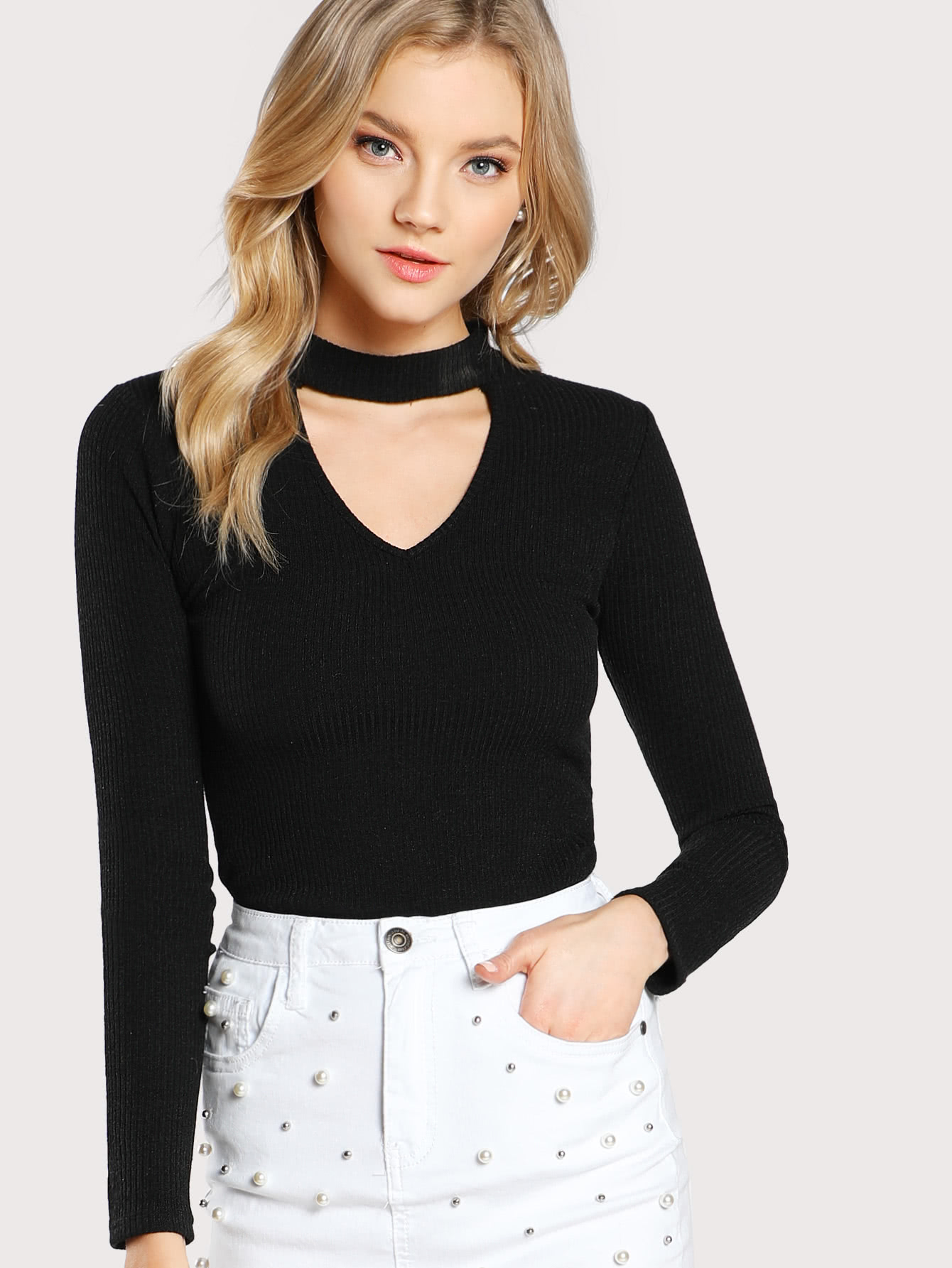 Choker Neck Rib Knit T-shirt contrast frill trim rib knit t shirt