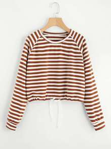 Raglan Sleeve Drawstring Hem Striped Tee