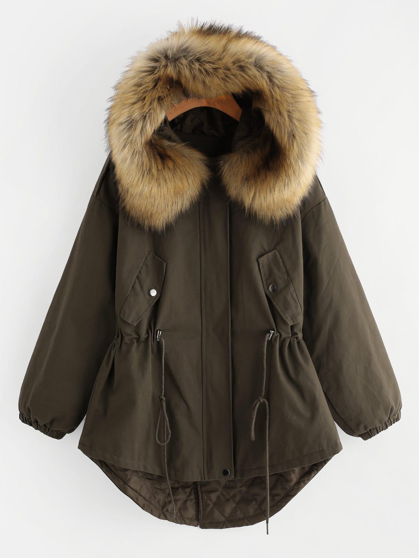 Faux Fur Lined Parka Coat faux fur lined parka coat