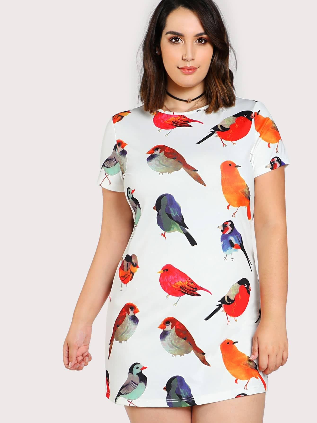 Allover Bird Print Dress jessica bird vienišas tarp milijonų