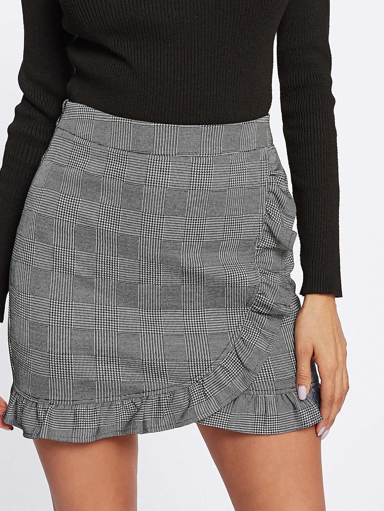 Frill Trim Plaid Wrap Skirt frill trim plaid wrap skirt