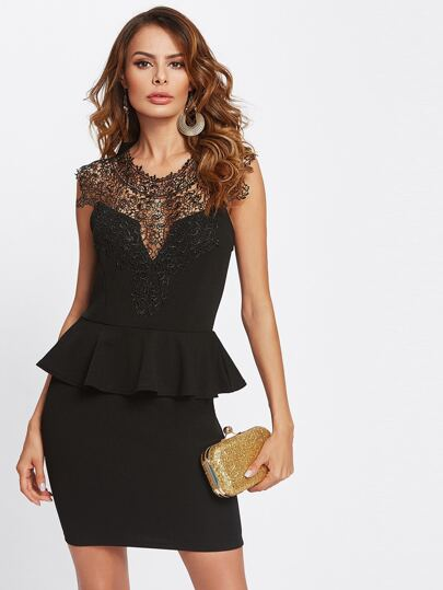 Lace Yoke Cut Out Back Combo Dress