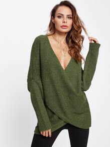 Deep V Neckline Drop Shoulder Tulip Hem Sweater
