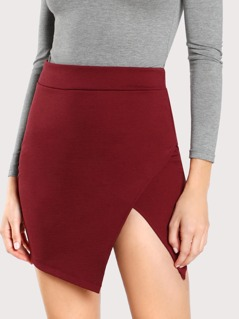 Solid Overlap Bodycon Skirt