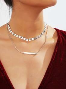 Sequin & Bar Design Double Layered Chain Necklace