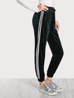 Shirred Waist Velvet Sweatpants