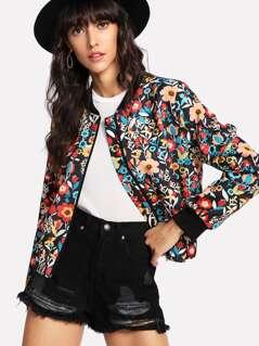 Contrast Trim Flower Print Bomber Jacket
