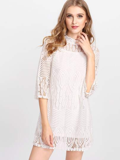 Geo Lace Overlay Cami Dress Set