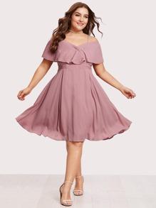 Pleated Flounce Trim Overlap Bardot Dress
