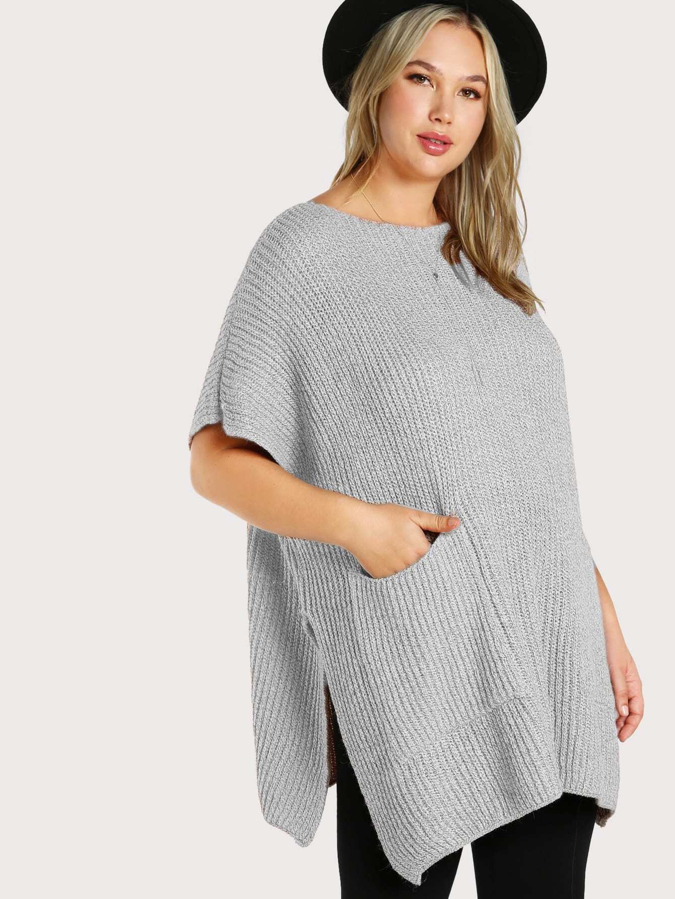 Ribbed Knitted Poncho PINK mmc-ao675-pnk