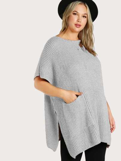 Ribbed Knitted Poncho PINK
