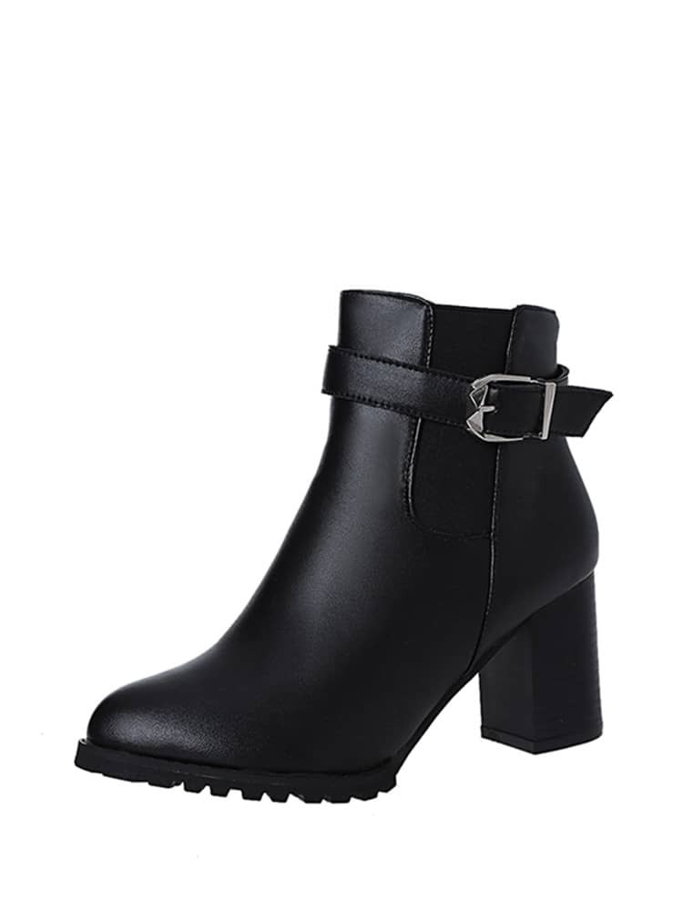 Buckle Strap Block Heeled Ankle Boots