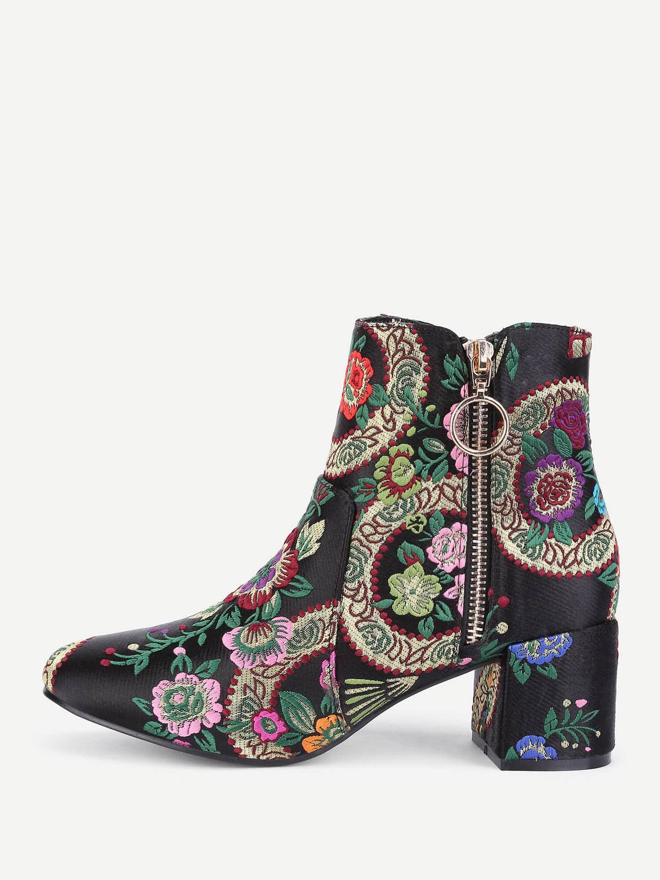 Flower Embroidery Side Zipper Ankle Boots EmmaCloth-Women ...