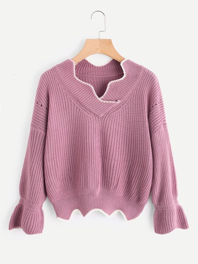 Fluted Sleeve V Neckline Scallop Trim Sweater