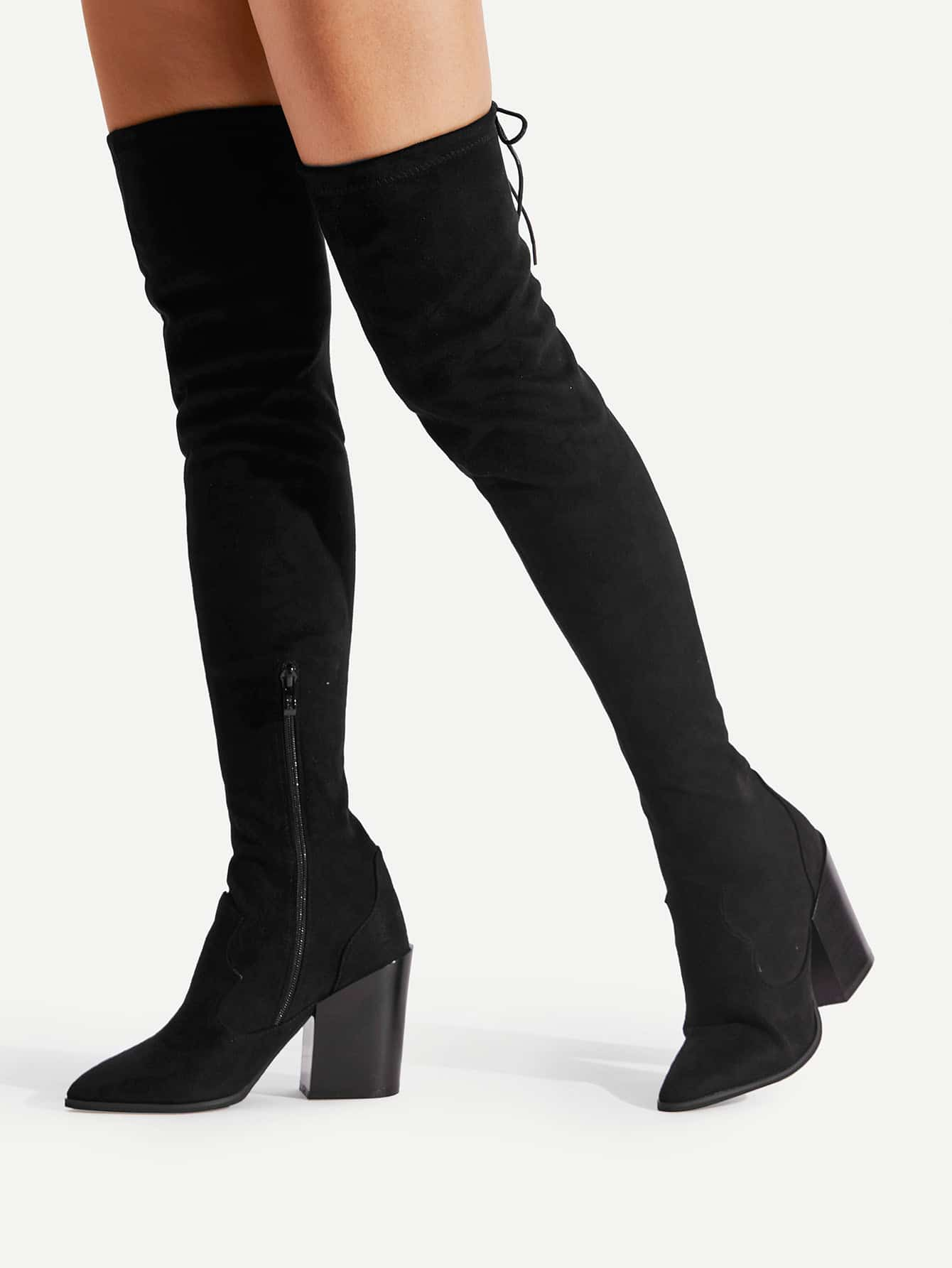Pointed Toe Block Heeled Thigh High  Boots shoes17090711