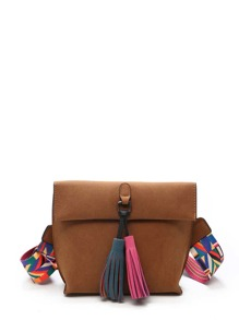 Geo Strap Tassel Decorated Roll Up Suede Bag