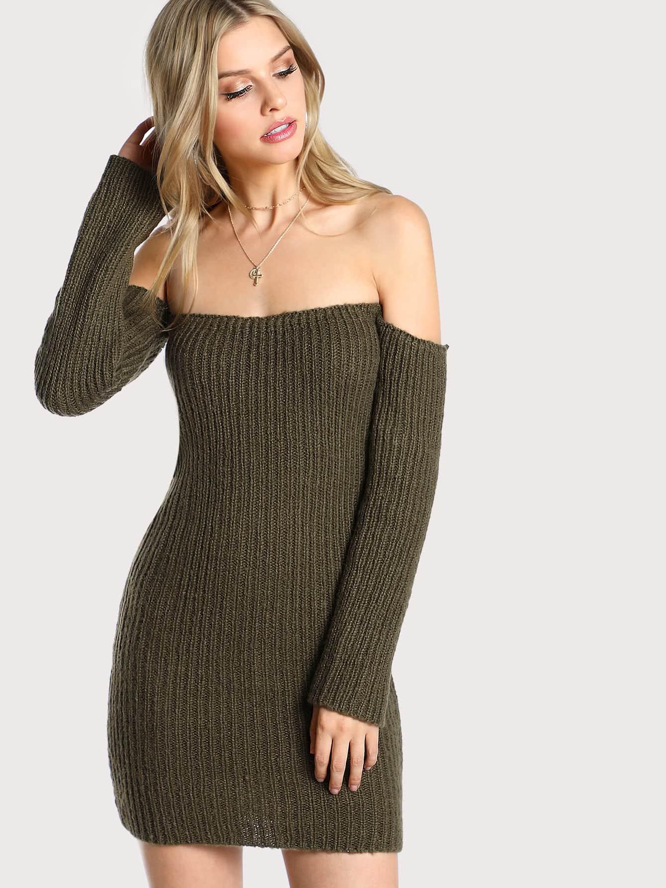 Off Shoulder Sweater Dress OLIVE -SheIn(Sheinside)